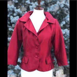 Vintage Victor Costa holiday red silk blazer coat